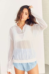 Silence And Noise Chiffon Popover Zip Up Top White