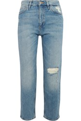 Mih Jeans M.I.H Jeanne Cropped Distressed Straight Leg Light Denim
