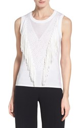 Women's Elie Tahari 'Candace' Fringe Front Sweater Antique