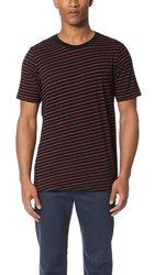 Rag And Bone Striped Colin Tee Black Red