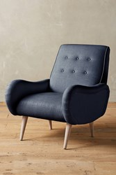 Anthropologie Linen Losange Chair Navy