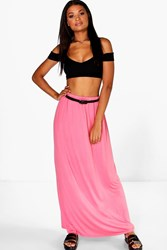 Boohoo Viscose Jersey Belted Maxi Skirt Coral