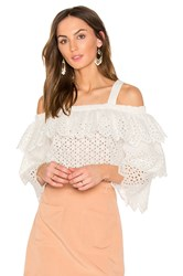Endless Rose Cold Shoulder Top With Tiered Sleeves White