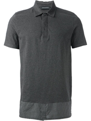 Kris Van Assche Hem Check Polo Shirt Grey