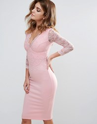 City Goddess Long Sleeve V Neck Lace Pencil Dress Pale Pink 1