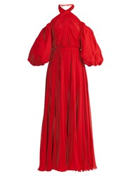 Giambattista Valli Twist Neck Pleated Silk Chiffon Gown Red