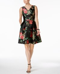 Ivanka Trump Floral Embroidered Fit And Flare Dress Black Pink Green