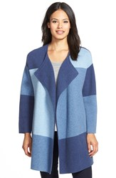 Nordstrom Colorblock Wool And Cashmere Sweater Jacket Blue Depth Mult