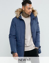 Asos Parka Jacket With Faux Fur Trim In Navy Navy