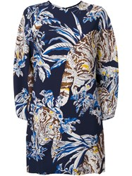 Stella Mccartney Cat Print Dress Blue