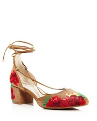 Kenneth Cole Tessa Embroidered Lace Up Block Heel Pumps 100 Bloomingdale's Exclusive Desert Tan Red