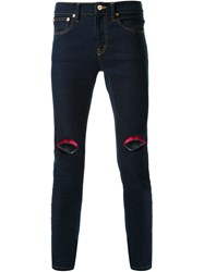 Dresscamp Embroidered Lip Skinny Jeans Blue