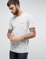 Only And Sons T Shirt With Raw Pocket In Broken Stripe Cloud Dancer Cream