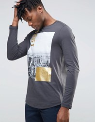 Asos Long Sleeve T Shirt With Glitter Print Washed Black