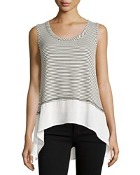On The Road Striped High Low Tank Black White