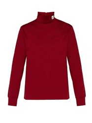 Prada Logo Patch Roll Neck Cotton Jersey Top Red