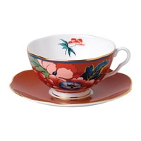 Wedgwood Paeonia Teacup And Saucer Red
