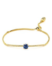 Botkier Pave Bead Pull Chain Bracelet Blue Gold