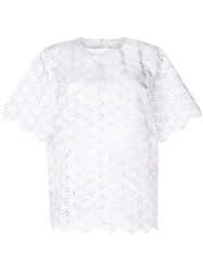 Paskal Laser Cut Short Sleeve Top White