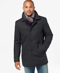 Tommy Hilfiger Big And Tall Melton Peacoat With Scarf Charcoal
