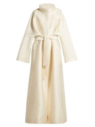 The Row Sarlie High Neck Silk Coat Beige