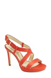 Adrianna Papell Women's 'Anette' Platform Sandal Summer Coral Satin