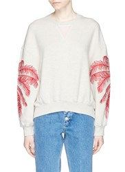 Stella Mccartney Palm Tree Embroidered French Terry Sweatshirt Neutral