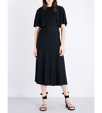 Valentino Cape Sleeved Stretch Knit Dress Nero