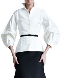 Carolina Herrera Silk Faille Blouse Ivory 14
