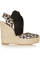 Stella Mccartney Leopard Print Canvas Wedge Espadrilles