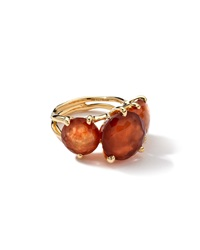 Ippolita 18K 3 Stone Hessanite Garnet Ring Red
