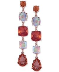 Guess Rose Gold Tone Colored Crystal Drop Earrings Rose Peach