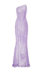 Romona Keveza Lavender Beaded Strapless Gown Purple