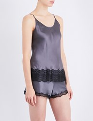 Nk Imode Lace Detailed Silk Satin Pyjama Camisole Charcoal