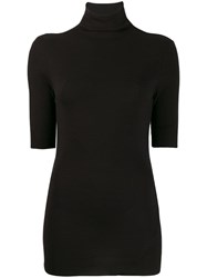 Thom Krom Fitted Mock Neck Top Black