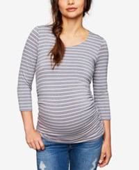 A Pea In The Pod Maternity Ruched Jersey Top Heather Grey White Stripe