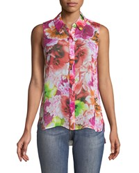 Cynthia Steffe Floral Print Sleeveless Button Front Blouse Multi
