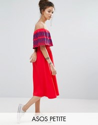 Asos Petite Off Shoulder Midi Sundress With Broderie Frill Red