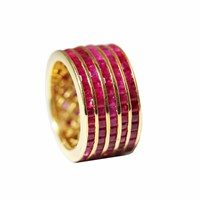 Maiko Nagayama Princess Cut Ruby Stripes Ring Red Gold