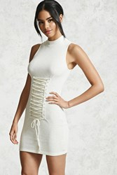Forever 21 Ribbed Corset Bodycon Ivory