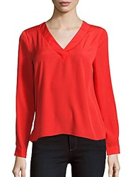 1.State Long Sleeve V Neck Blouse Ruby Flame