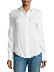 Vince Stretch Silk Shirt Scrub White
