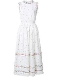 Emilia Wickstead Floral Print Flared Dress White
