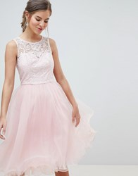 Chi Chi London Midi Tulle Prom Dress With Premium Lace Bodice Pastel Pink