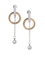 Bcbgeneration Basic Two Tone Chain Drop Earrings Silver
