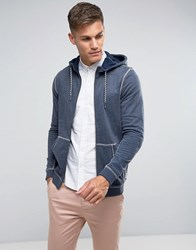 Tom Tailor Zip Through Hoodie With Contrast Seams 6740 Navy