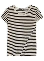 Pam And Gela Slash Striped Cotton Blend T Shirt Black And White