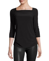Laundry By Shelli Segal Solid Ruched Pullover Top Black