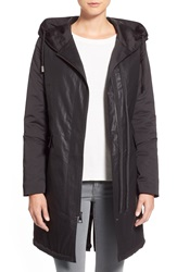Vera Wang 'Laura' Mixed Media Anorak With Detachable Faux Fur Liner Black