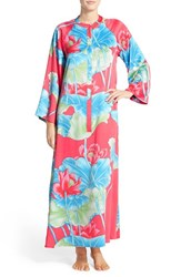 Women's Natori 'Lian' Front Zip Charmeuse Caftan Coral Pink